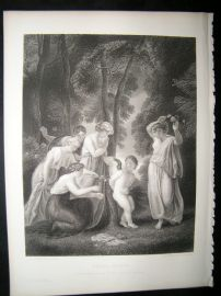 Chiildren, Cupid Bound 1863 Steel Engraving